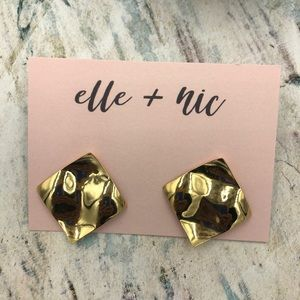 Gold Plated Crinkle Square Stud Earrings